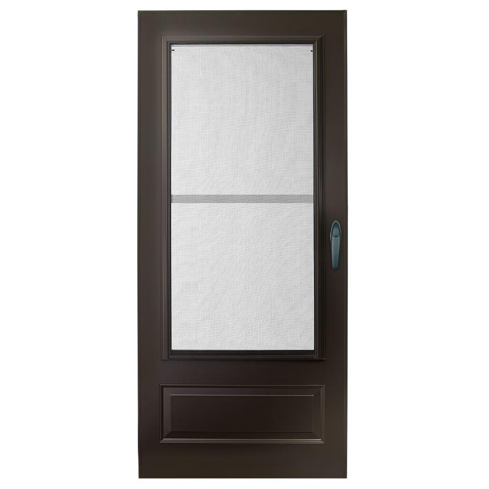 Emco 30 in x 80 in 100 series plus bronze self storing for Double entry storm doors