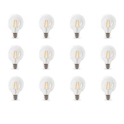 25-Watt Equivalent G25 Dimmable Filament ENERGY STAR Clear Glass LED Light Bulb, Soft White (12-Pack)