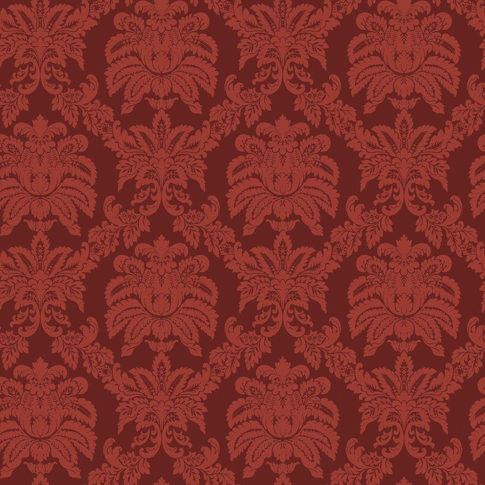 The Wallpaper Company 56 sq. ft. Red Sweeping Damask Wallpaper