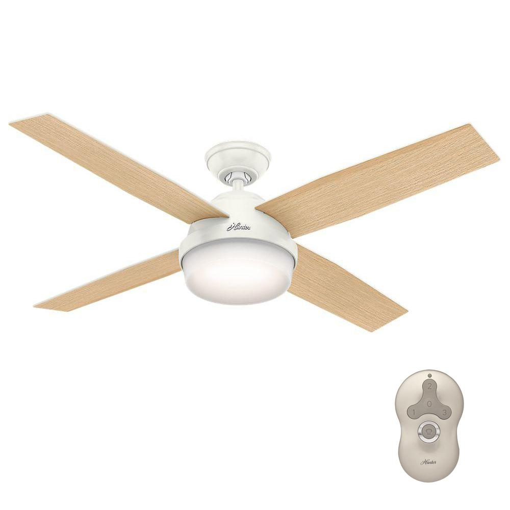 Ceiling Fans With Remote And Light: Hunter Dempsey 52 In. LED Indoor Fresh White Ceiling Fan