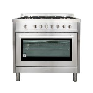 Cosmo Commercial-Style 36 inch 3.8 cu. ft. Gas Range with 5 Italian Made Burners, Motorized Rotisserie and Convection Oven by Cosmo