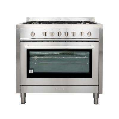 Commercial-Style 36 in. 3.8 cu. ft. Gas Range with 5 Italian Made Burners, Motorized Rotisserie and Convection Oven