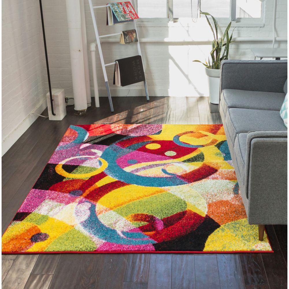 Viva Brilliant Multi 8 ft. x 10 ft. Contemporary Area Rug