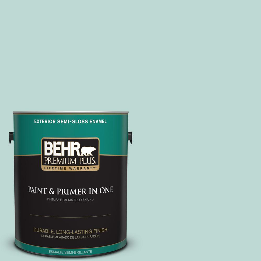 BEHR Premium Plus 1-gal. #M440-2 Serene Breeze Semi-Gloss Enamel Exterior Paint