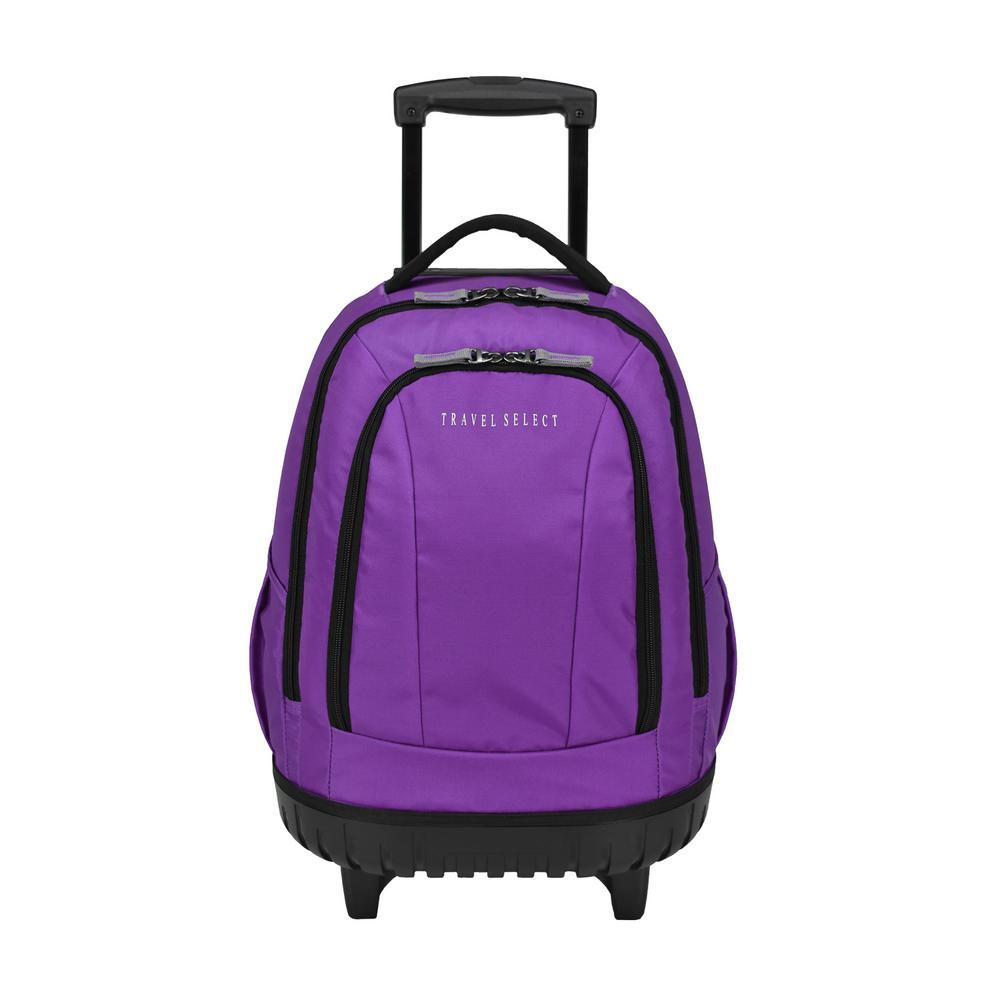 20.5 in. Rolling Purple Backpack