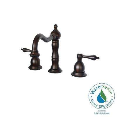 6 in. - 12 in. Widespread 2-Handle Bathroom Faucet with Metal Lever Handles in Oil Rubbed Bronze