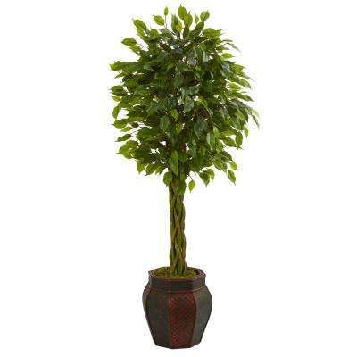 4.5 ft. High Indoor Braided Ficus Artificial Tree in Decorative Planter