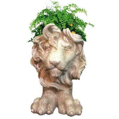 18 in. Antique White Lion Muggly Mascot Animal Statue Planter Holds a 7 in. Pot
