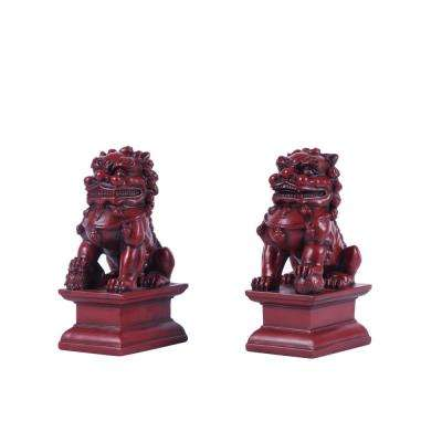 Red Foo Dog Male and Female Garden Statue