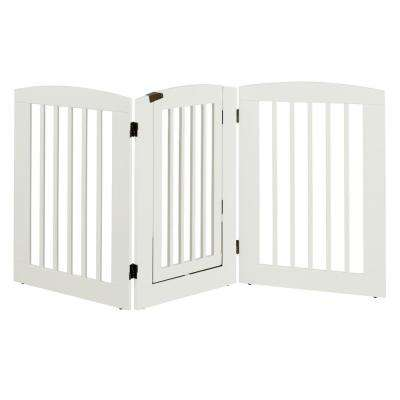 Ruffluv 36 in. H Wood 3-Panel Expansion White Pet Gate with Door