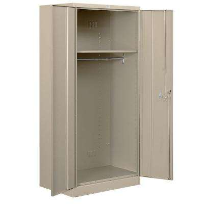 36 in. W x 78 in. H x 24 in. D Wardrobe Heavy Duty Storage Cabinet Assembled in Tan
