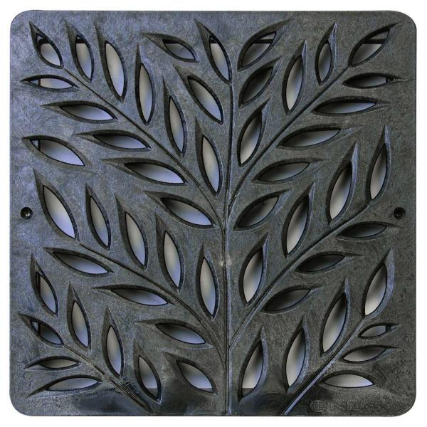 12 in. Plastic Square Drainage Catch Basin Grate with Botanical Design in Black
