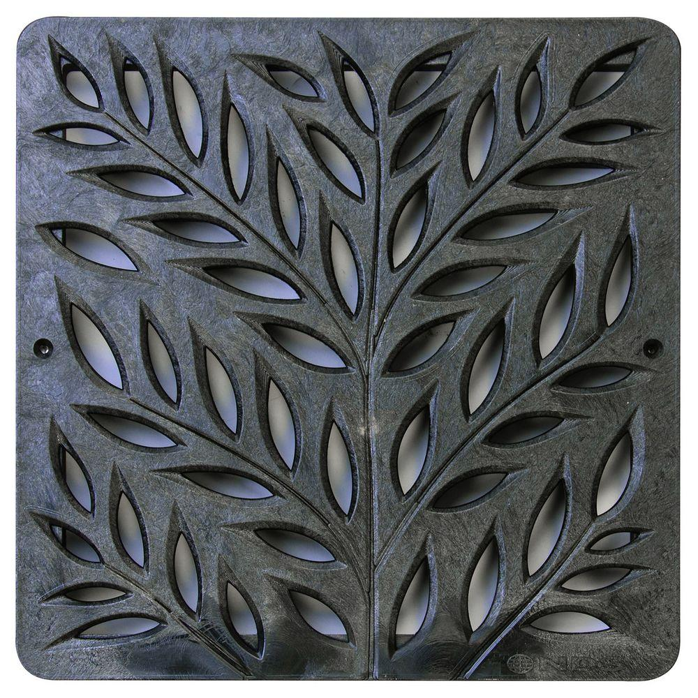 12 in. Plastic Botanical Design Square Grate in Black