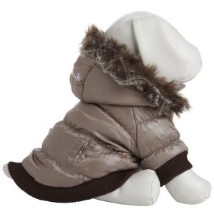 PET LIFE Small Grey Metallic Fashion Parka with Removable Hood by PET LIFE
