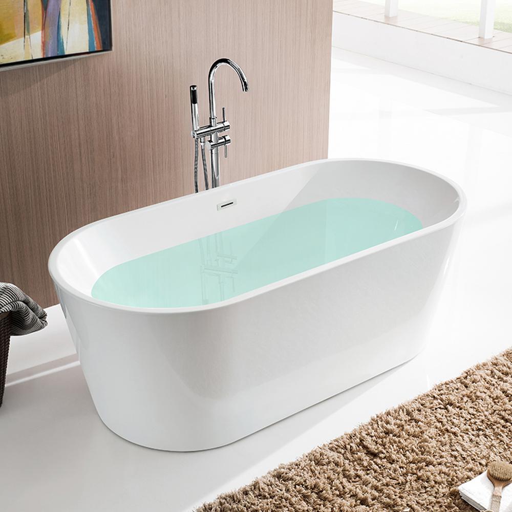 Vanity Art Bordeaux 59 in. Acrylic Flatbottom Freestanding Bathtub in White