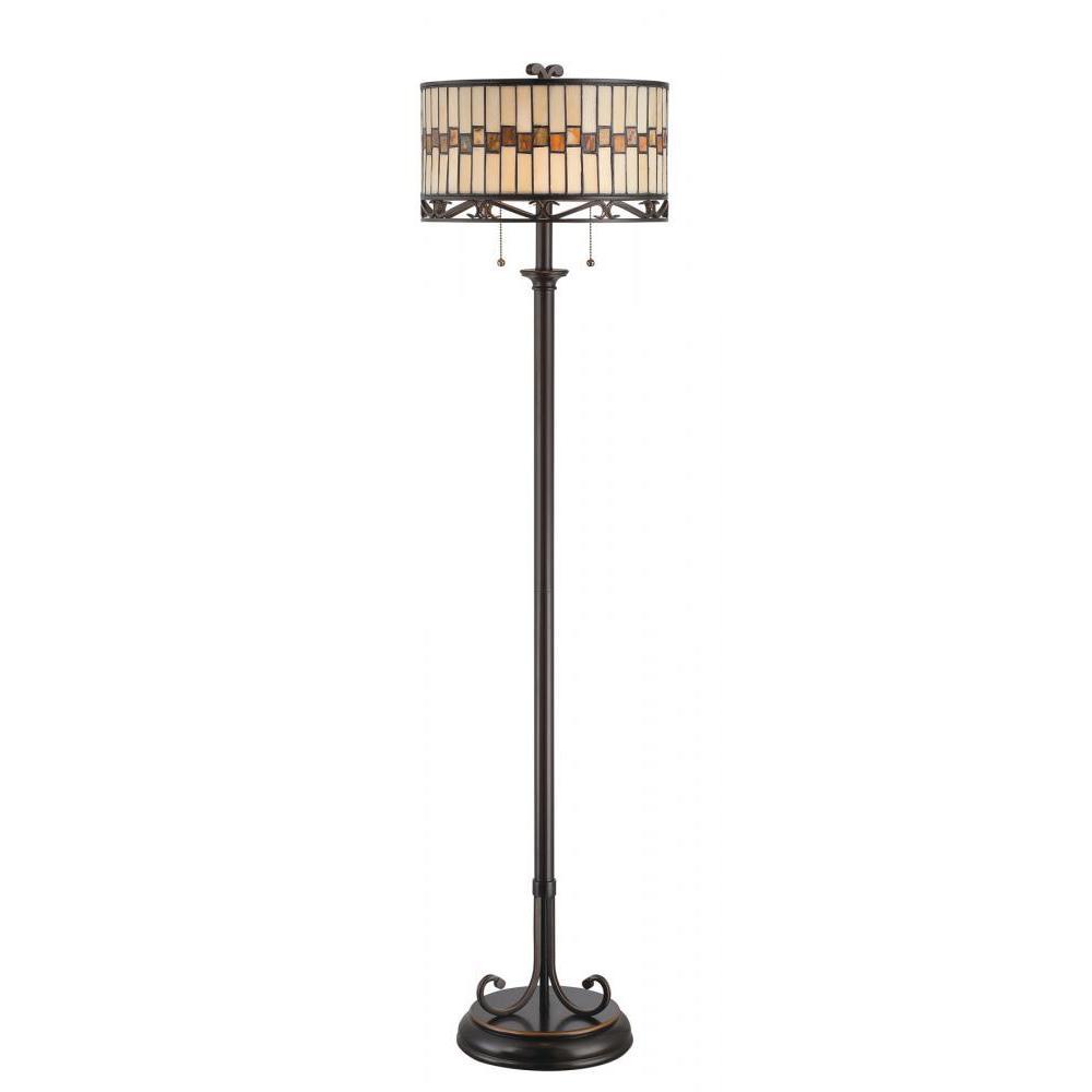 60.5 in. 2-Light Dark Bronze Floor Lamp