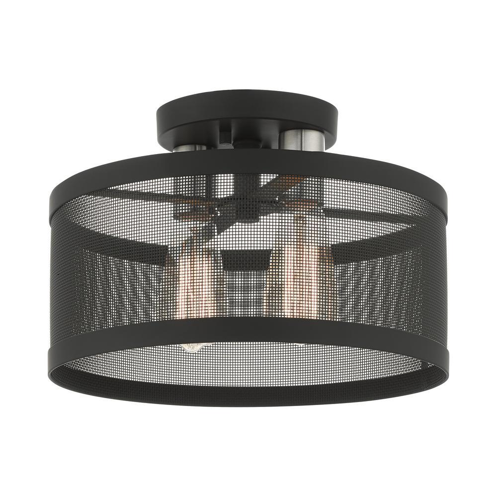 Industro 13 in. 2-Light Black Semi-Flush Mount