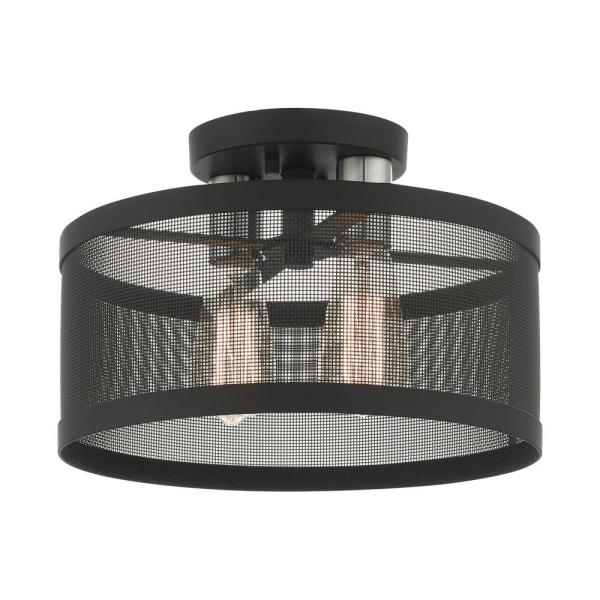 Industro 2 Light Black with Brushed Nickel Accents Semi Flush Mount