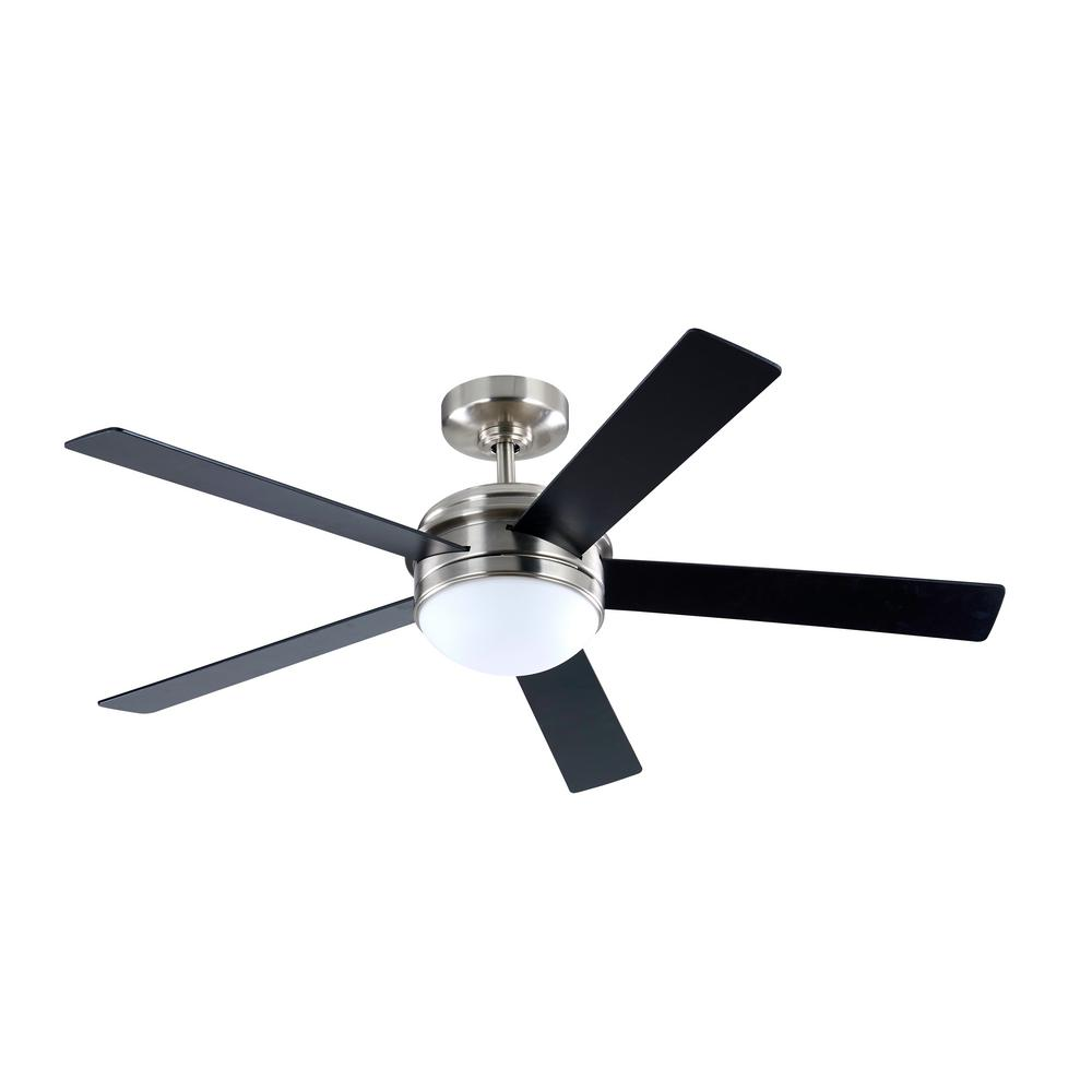 56 in. Integrated LED Indoor Brushed Nickel DC Ceiling Fan with