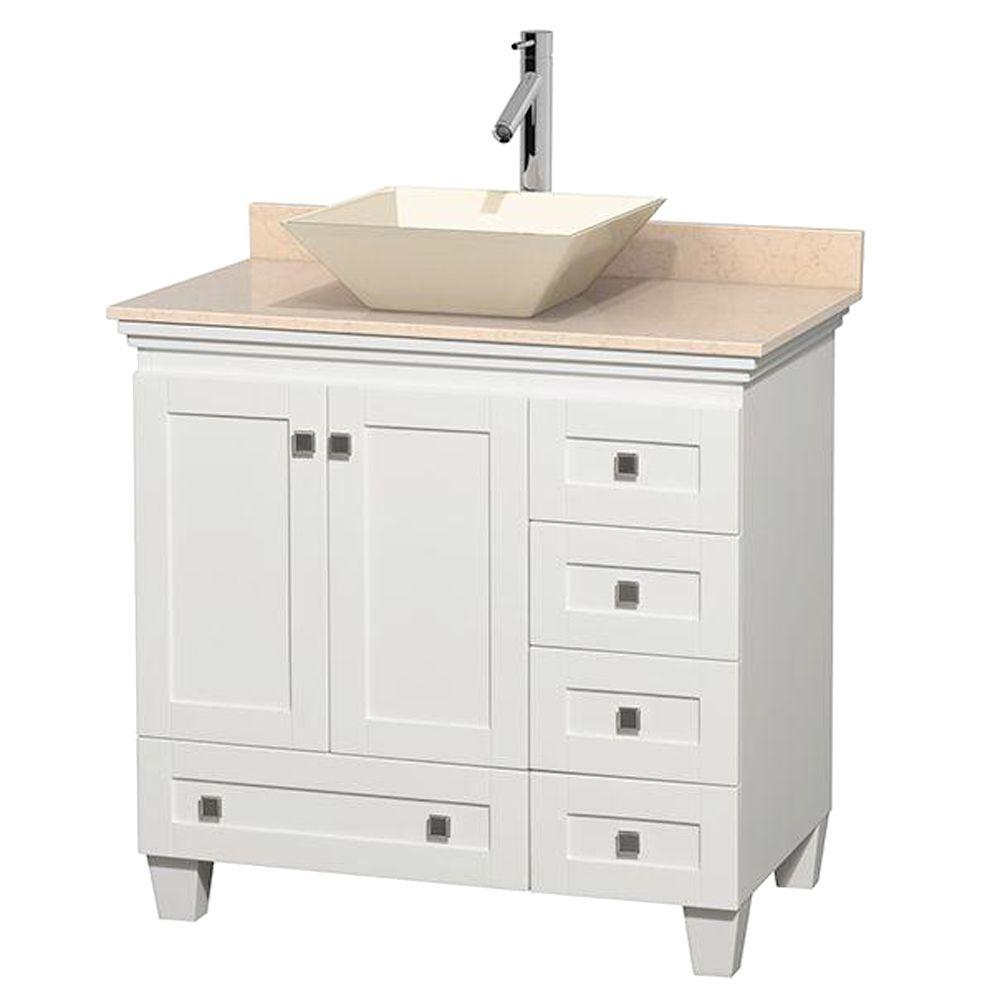 Wyndham Collection Acclaim 36 in. W Vanity in White with Marble Vanity Top in Ivory and Bone Sink