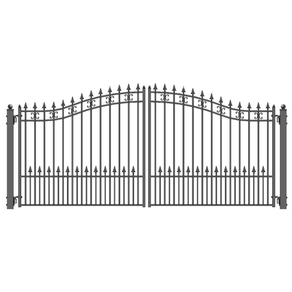 ALEKO St. Petersburg Style 14 ft. x 6 ft. Black Steel Dual Driveway Fence Gate