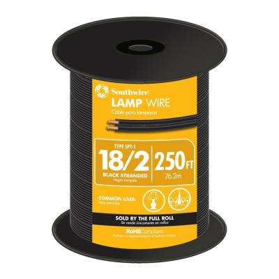 250 ft. 18/2 Black Stranded CU SPT-1 Lamp Wire