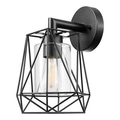 Sansa 1-Light Black Outdoor/Indoor Wall Mount Sconce