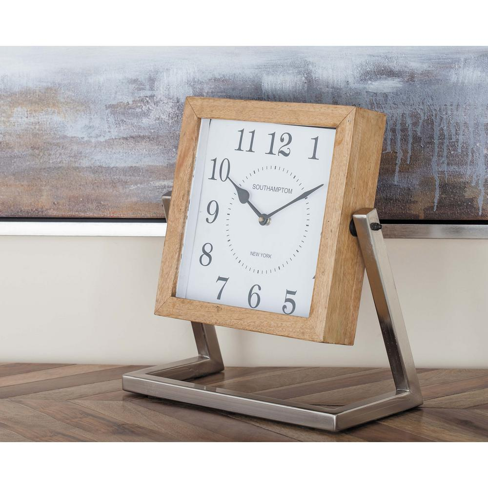 White Square Analog Table Clock