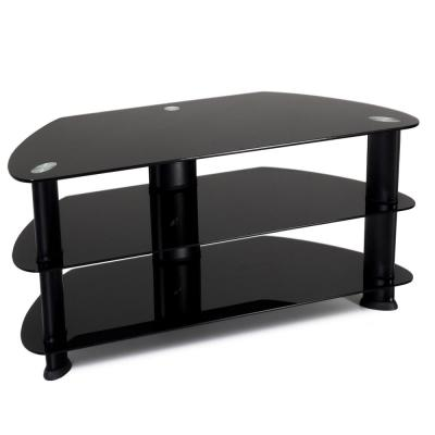 Laguna 40 in. Satin Black Metal TV Stand Fits TVs Up to 50 in. with Cable Management