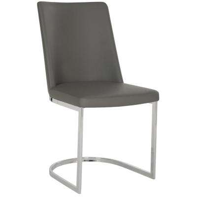 Parkston Gray 18 in. H Leather Side Chair (Set of 2)