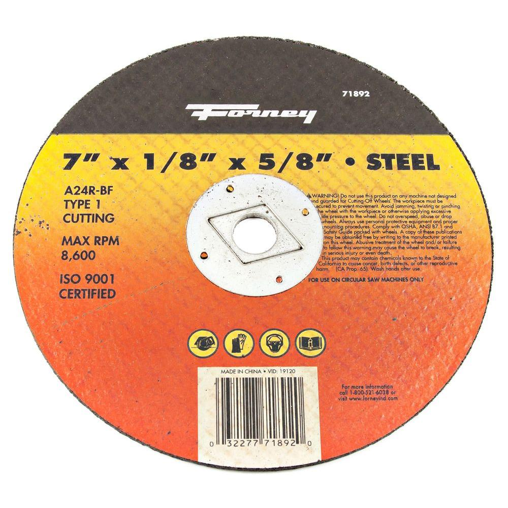 Forney 7 in. x 1/8 in. x 5/8 in. Metal Type 1 A24R-BF Cut-Off Wheel-71892 -  The Home Depot