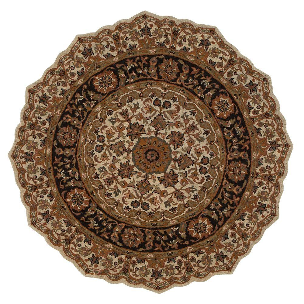 Masterpiece Beige and Black 6 ft. Round Area Rug