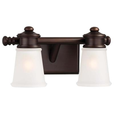 2-Light Dark Brushed Bronze Vanity Light with Etched White Glass