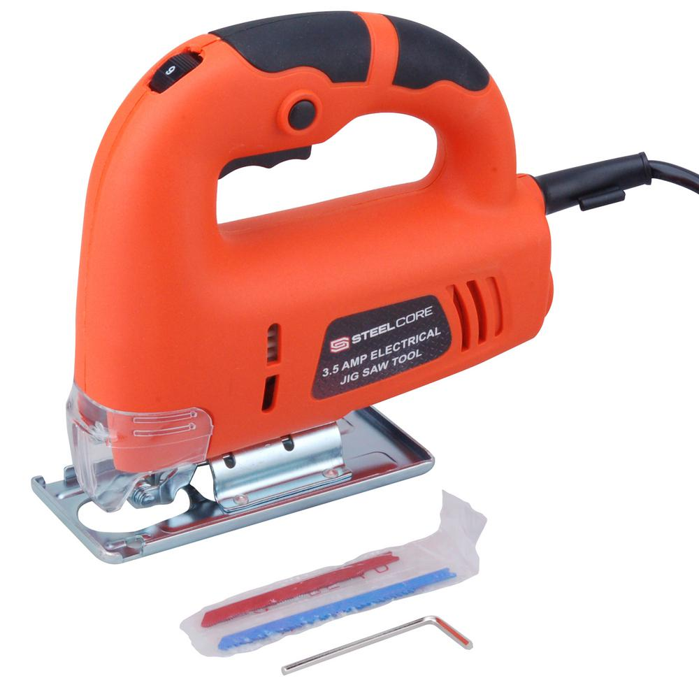 Steel Core 3.5 Amp Corded Electric Jig Saw Tool with Variable Speed Capability