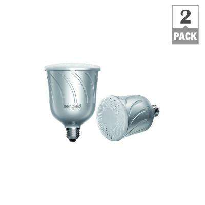 Pulse Dimmable BR30 LED Light Bulb with Built-In Wireless Bluetooth Speaker - Silver (2-Pack)