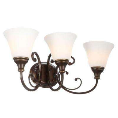 Somerset 3-Light Bronze Vanity Light with Bell Shaped Frosted Glass Shades