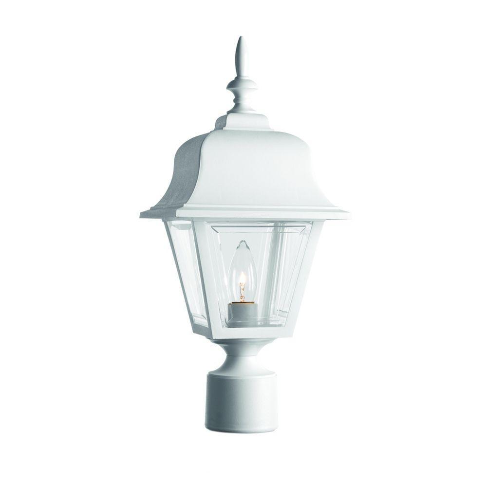 Plug in post lighting outdoor lighting the home depot 1 light outdoor white post lantern aloadofball Choice Image