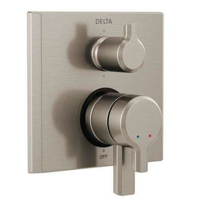 Pivotal 2-Handle Wall-Mount 6-Setting Integrated Diverter Trim Kit in Stainless (Valve Not Included)