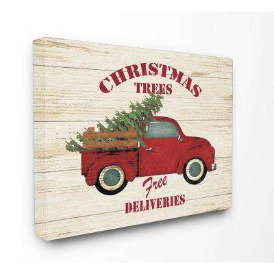 "24 in. x 30 in. ""Merry Christmas Vintage Tree Truck"" by Jo Moulton Printed Canvas Wall Art"