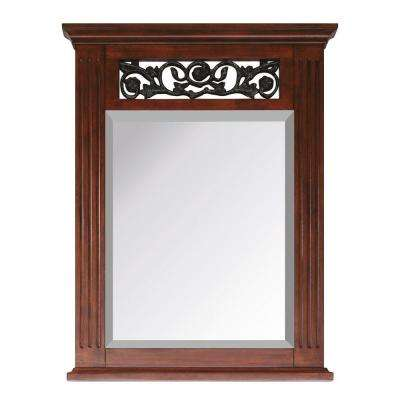Napa 24 in. x 32 in. Beveled Edge Mirror in Dark Cherry