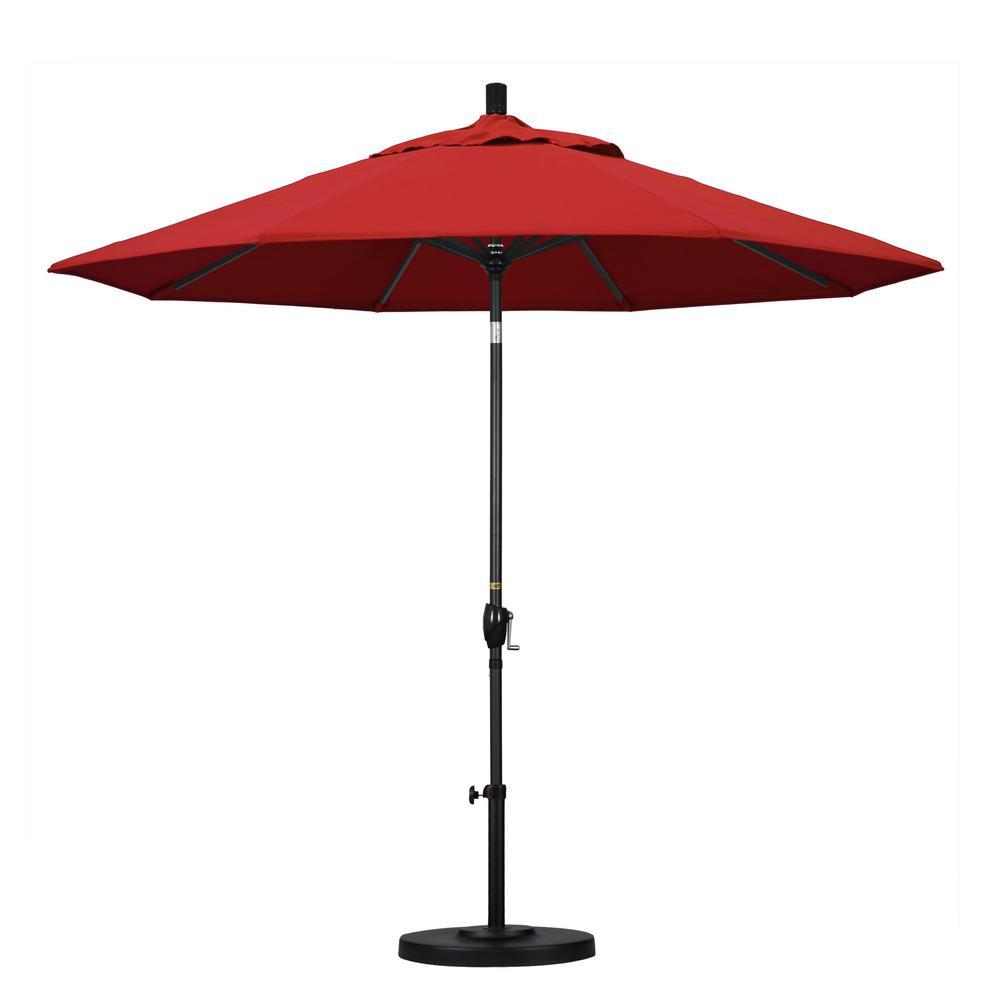 9 ft. Black Aluminum Pole Market Aluminum Ribs Push Tilt Crank Lift Patio Umbrella in Jockey Red Sunbrella