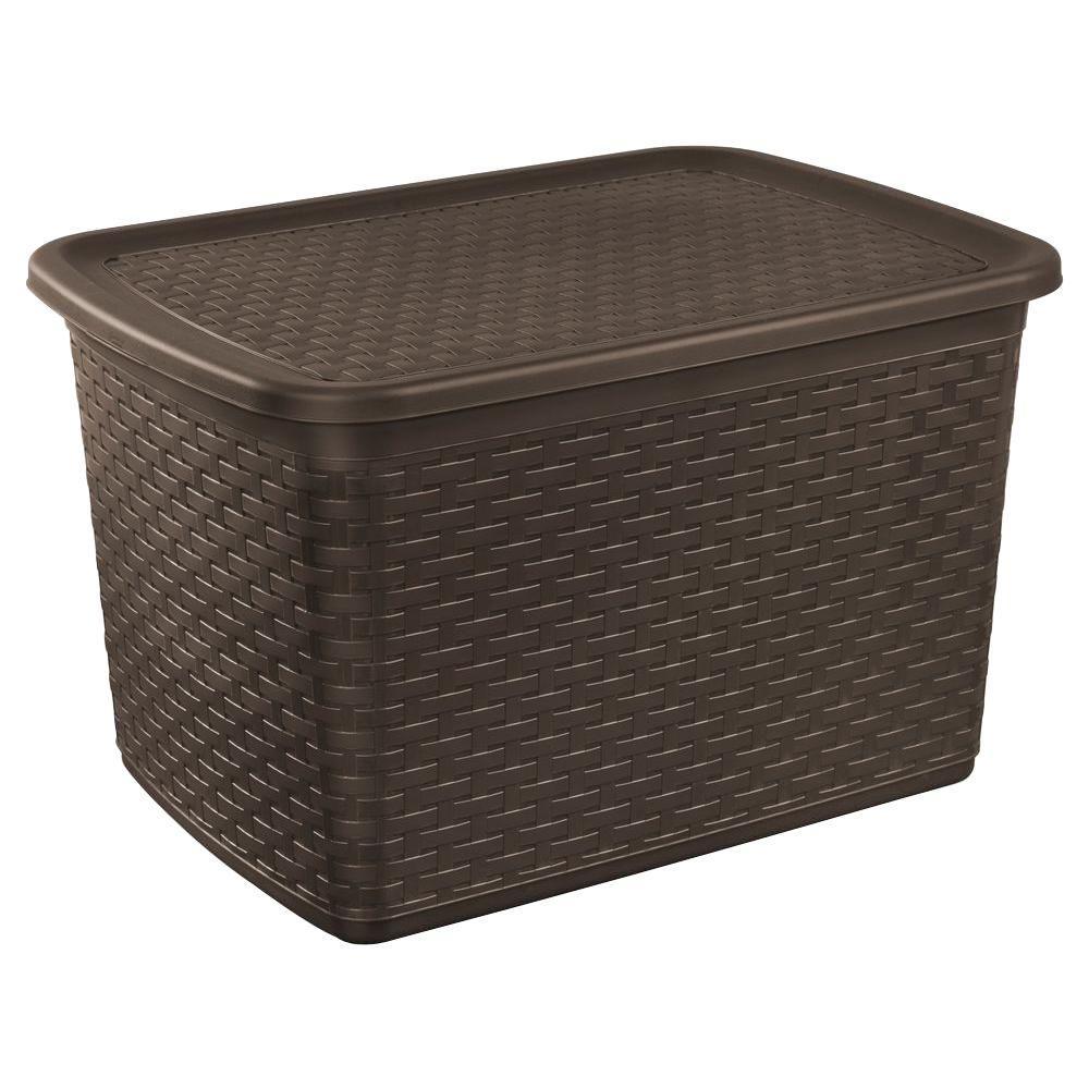 sterilite 17 gal plastic weave storage tote in espresso 12786p04 the home depot. Black Bedroom Furniture Sets. Home Design Ideas