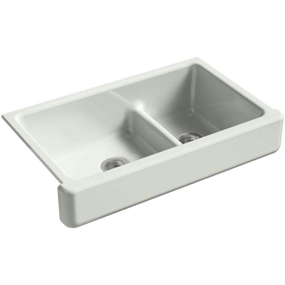 Whitehaven Smart Divide Undermount Farmhouse Short Apron-Front Cast Iron 36 in. Double Basin Kitchen Sink in Sea Salt