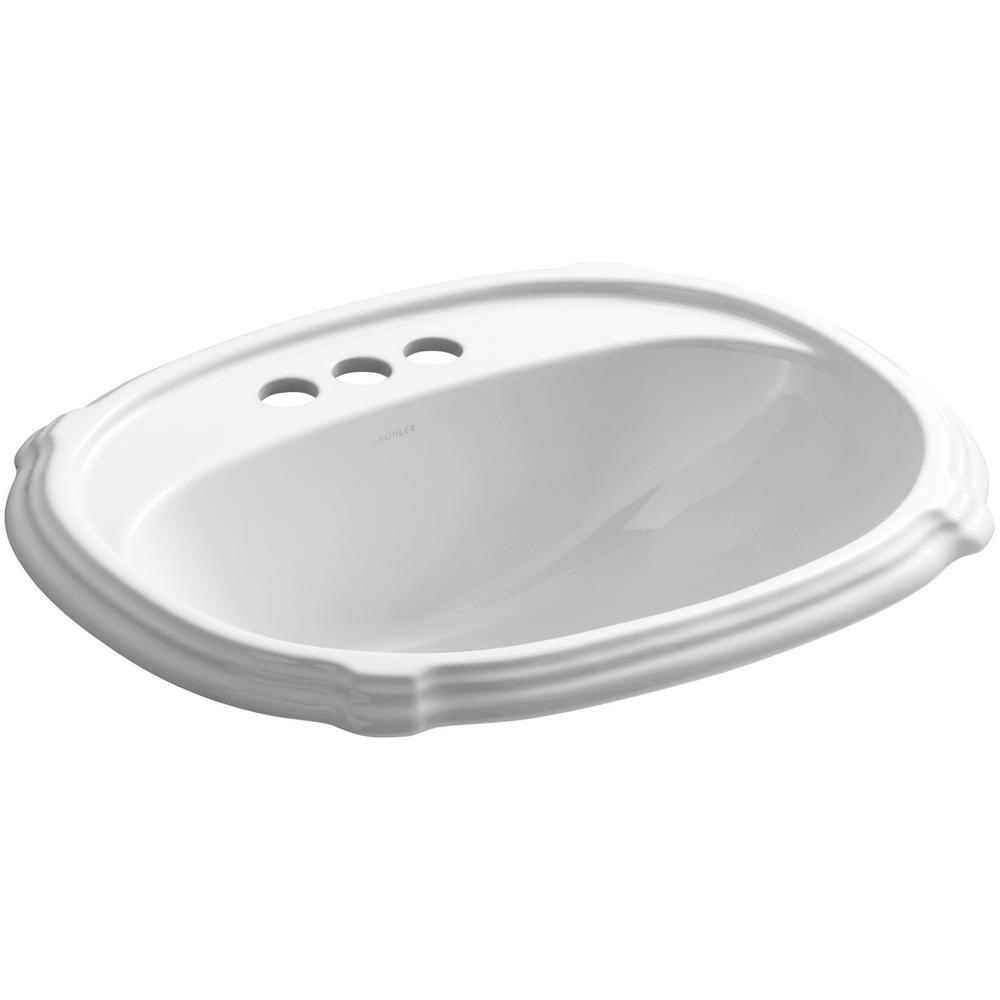 Portrait Drop-In Vitreous China Bathroom Sink in White with Overflow Drain