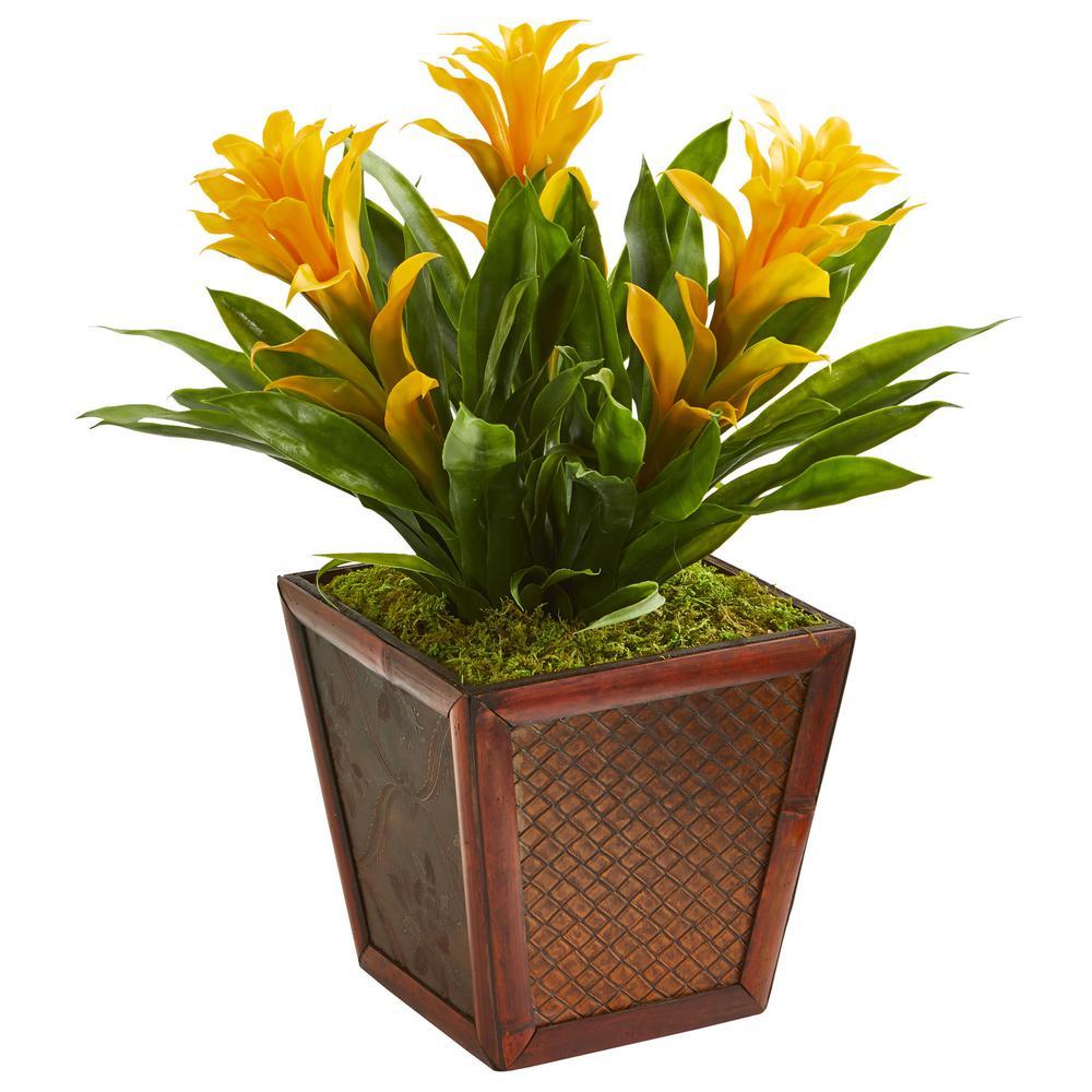 Triple Yellow Bromeliad Artificial Plant in Decorative Planter