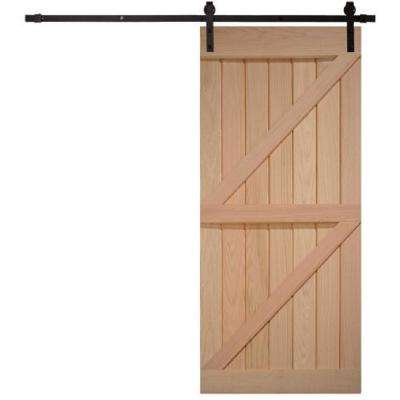 40 in. x 87 in. Timber Hill Double Z Unassembled Unfinished Oak Wood Barn Door Kit with Sliding Door Hardware Kit