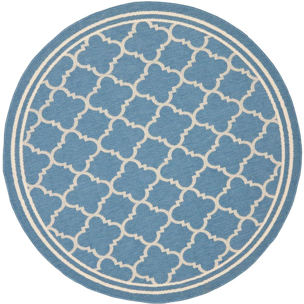 Safavieh Courtyard Blue/Beige 6 ft. 7 in. x 6 ft. 7 in. Indoor/Outdoor Round Area Rug