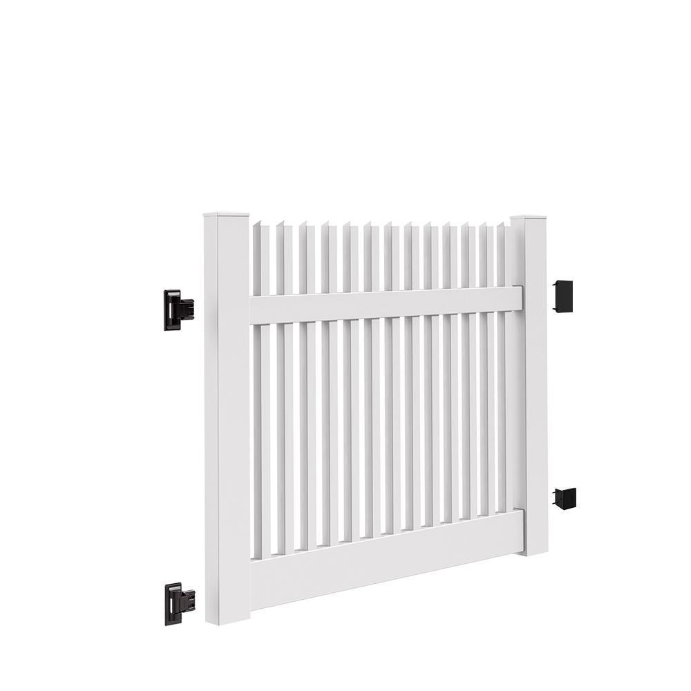 Yukon Straight 5 ft. W x 4 ft. H White Vinyl Un-Assembled Fence Gate
