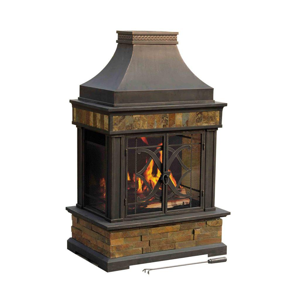 Sunjoy Heirloom 56 In Steel And Slate Outdoor Fire Place 110504011 The Home Depot