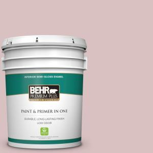 Behr Premium Plus 5 Gal Ppu17 08 Peony Blush Semi Gloss Enamel Low Odor Interior Paint And Primer In One 305005 The Home Depot